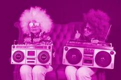 Ghettoblaster retro gêmeo do DJ da avó funky Fotos de Stock Royalty Free