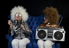 Ghettoblaster retro gêmeo do DJ da avó funky Fotos de Stock