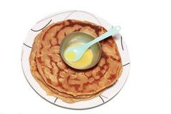 Ghi e cucchiaio su Puran Poli fotografia stock libera da diritti