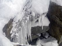 Ghiacci Stalactities sulla cima della montagna di Aiguille du Midi Fotografie Stock