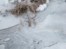Ghiacci sul lago un la mattina fredda dell'inverno fotografie stock libere da diritti