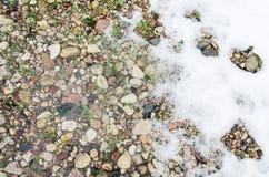 Ghiacci sulla pavimentazione del marciapiede dopo le precipitazioni nevose nell'inverno Ghiaccio sulla lastra della pavimentazion Immagini Stock Libere da Diritti