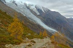 Ghiacciaio in alte montagne Fotografia Stock