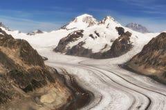 Ghiacciaio dell'arena di Aletsch in montagna delle alpi della Svizzera Fotografia Stock