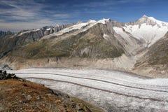 Ghiacciaio dell'arena di Aletsch in montagna delle alpi della Svizzera Immagini Stock