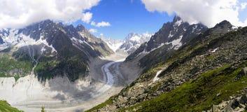 Ghiacciaio delle alpi panoramico Immagini Stock Libere da Diritti