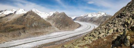 Ghiacciaio di Aletsch in alpi svizzere Fotografia Stock
