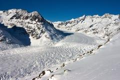 Ghiacciaio di Aletsch in inverno Immagine Stock Libera da Diritti