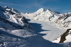 Ghiacciaio di Aletsch in inverno Fotografie Stock Libere da Diritti