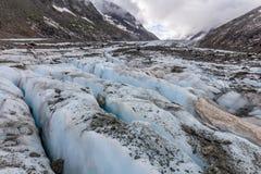 Ghiacciaio di Argentiere in Chamonix Alps, Francia Immagini Stock