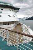 Ghiacciaio di Hubbard nell'Alaska dalla piattaforma della nave da crociera Fotografia Stock