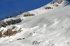 Ghiacciaio di Marmolada coperto di neve sporca Fotografia Stock Libera da Diritti