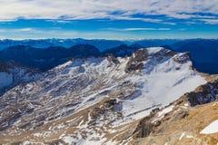 Ghiacciaio di Schneeferner dalla montagna di Zugspitze, alpi, Germania Immagine Stock Libera da Diritti