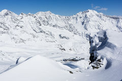 Ghiacciaio di Stubai di corsa con gli sci, Tirolo, terra di Innsbruck, Austria Fotografia Stock Libera da Diritti