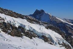 Ghiacciaio e alta montagna, vista dal Jungfraujoch Fotografia Stock Libera da Diritti
