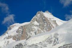 Ghiacciaio e sommità in valle di Chamonix-Mont-Blanc, alpi Fotografie Stock Libere da Diritti