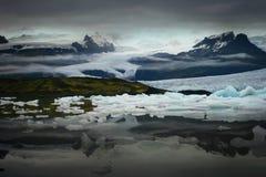 Ghiacciaio entro la notte, Islanda Fotografia Stock Libera da Diritti