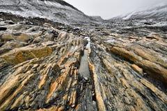 Ghiacciaio eroso di Athabasca dell'ambiente Fotografie Stock