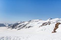 Ghiacciaio nel Jungfraujoch, montagna delle alpi, Svizzera di Aletsch Fotografie Stock