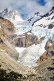 Ghiacciaio nella gamma di Fitz Roy Mountain, Argentina Fotografie Stock