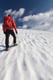 Ghiacciaio solo dell'alpinista Fotografie Stock