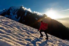 Ghiacciaio solo dell'alpinista Fotografia Stock Libera da Diritti