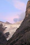 Ghiacciaio superiore svizzero di Grindelwald all'indicatore luminoso di sera Immagine Stock
