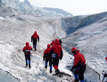Ghiacciaio Trekkers immagine stock