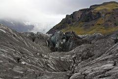 Ghiaccio in bianco e nero di Vatnajokull in Islanda immagini stock libere da diritti