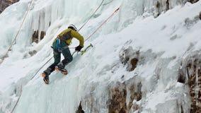 Ghiaccio che scala nel Tirolo del sud, Italia Fotografia Stock Libera da Diritti