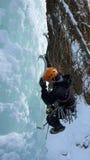 Ghiaccio che scala nelle alpi svizzere Fotografia Stock Libera da Diritti