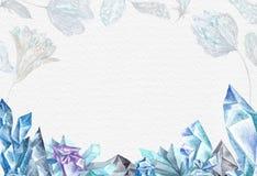 Ghiaccio Crystal Background dell'acquerello Immagini Stock Libere da Diritti