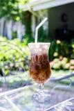 Ghiaccio del cappuccino nel giardino della caffetteria Fotografie Stock Libere da Diritti