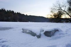 Ghiaccio del fiume Fotografia Stock