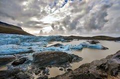 Ghiaccio del ghiacciaio in Islanda - vista drammatica Fotografie Stock Libere da Diritti