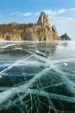 Ghiaccio del lago Baikal Fotografie Stock