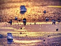 Ghiaccio freddo brillante, ghiaccioli luminosi sulla riva congelata del lago Raggi caldi del sole del tramonto riflessione Immagine Stock Libera da Diritti