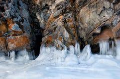 Ghiaccio sulla superficie del lago Baikal Fotografia Stock