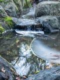 Ghiaccio sullo stagno con la piccola cascata Immagine Stock Libera da Diritti