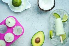Ghiaccioli d'avanguardia sani dell'avocado, della calce e della noce di cocco fotografie stock