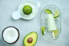 Ghiaccioli d'avanguardia sani dell'avocado, della calce e della noce di cocco fotografia stock