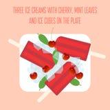Ghiaccioli dei gelati con la ciliegia, le foglie di menta ed i cubetti di ghiaccio Immagine Stock Libera da Diritti