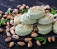 Ghiaccioli del crem del ghiaccio del pistacchio Immagini Stock