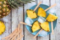 Ghiaccioli della fetta dell'ananas, vista superiore sopra legno bianco Fotografia Stock Libera da Diritti