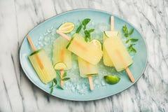 Ghiaccioli della limonata di estate con calce, le foglie di menta ed il ghiaccio scheggiato immagine stock