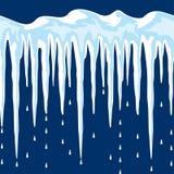 Ghiaccioli e fondo della neve Immagine Stock