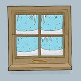 Ghiaccioli e neve sulla finestra Fotografia Stock Libera da Diritti