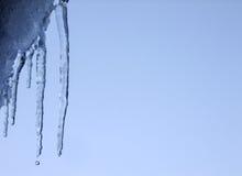 Ghiacciolo e goccia di acqua di caduta sul tetto Immagini Stock Libere da Diritti