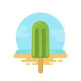 Ghiacciolo verde sull'icona piana della spiaggia illustrazione vettoriale