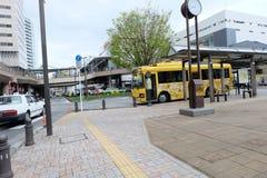 Ghibli Museum yellow bus at Mitaka Station Royalty Free Stock Image